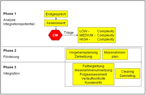 Illustration: Phase 1 bis 3 im Case Management Regelkreis